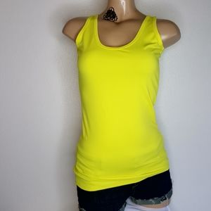 Fabletics bright yellow open back athletic top XXS